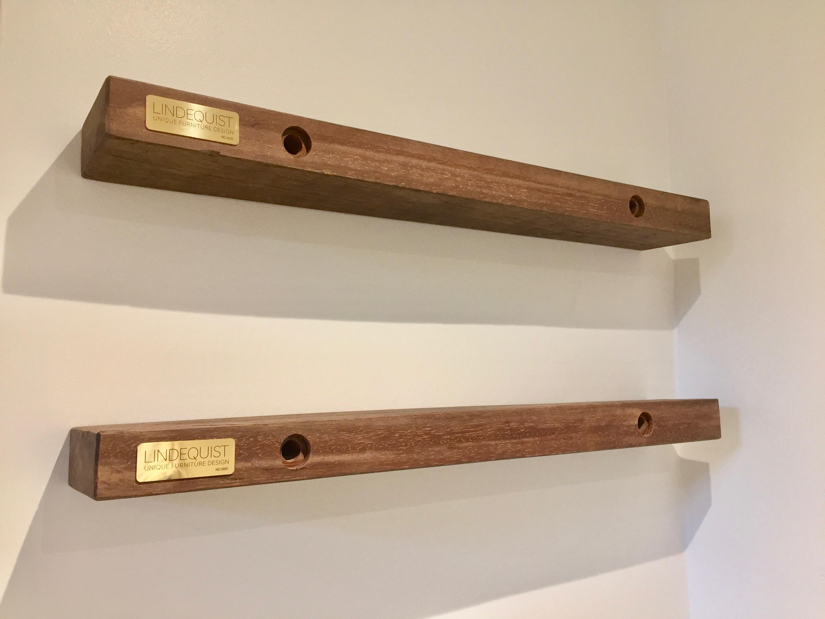 Nice Svævehylde i azobetræ - Lindequist Design - Håndlavede møbler XK19